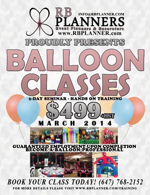 Balloon classes rb planners for Balloon decoration classes