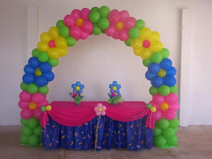 Spring themed parties flower balloons and arches rb for Balloon decoration arches
